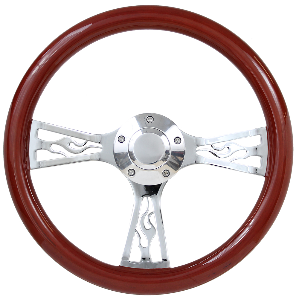 "Picture of Steering Wheels - 14"" Euro Wood w/Flames"