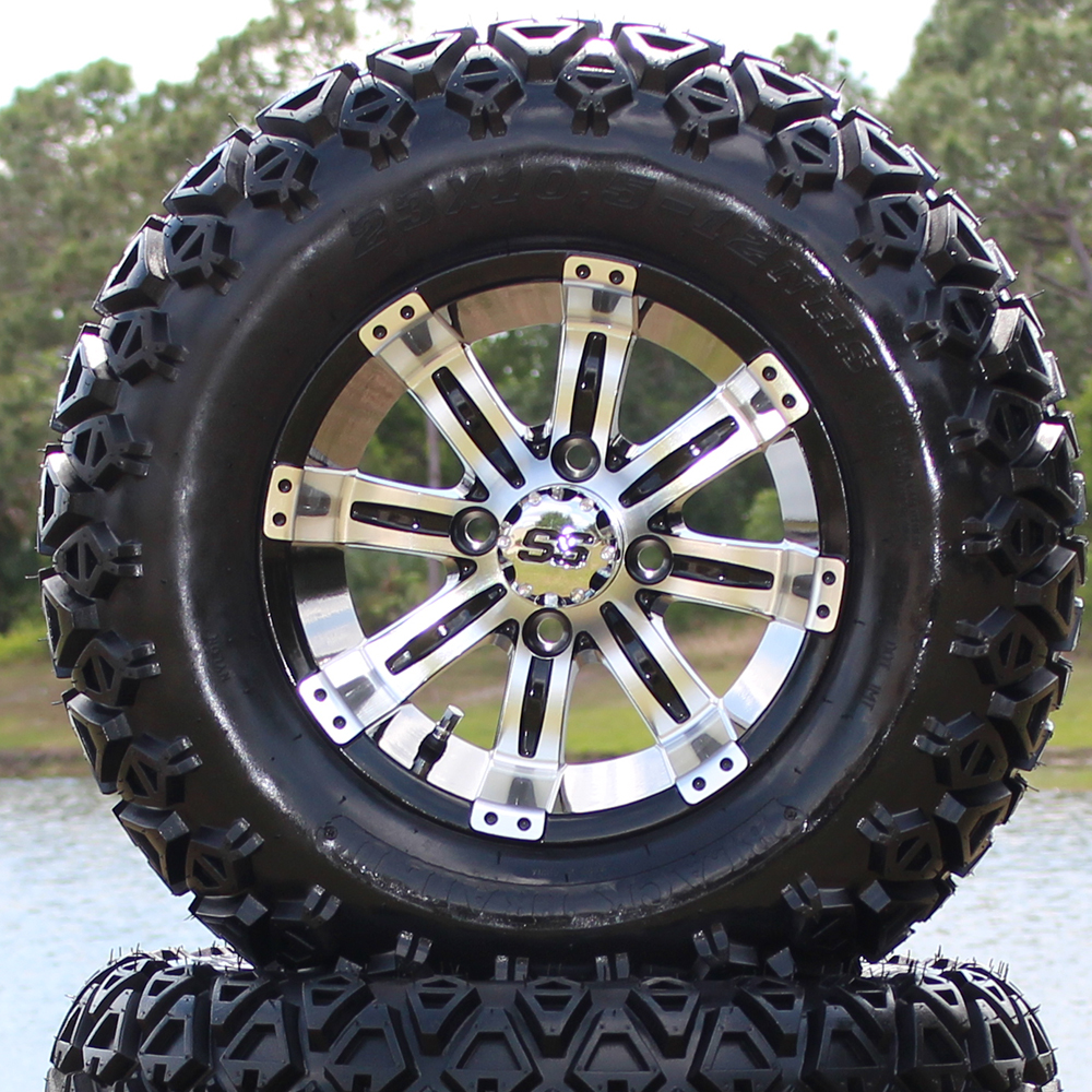"""Picture of Tire/Wheel Combo - 12"""" - Typhoon Machined/Black"""