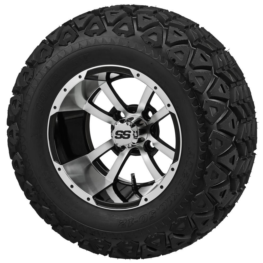 """Picture of Tire/Wheel Combo - 12"""" - Crusader Machined/Black"""