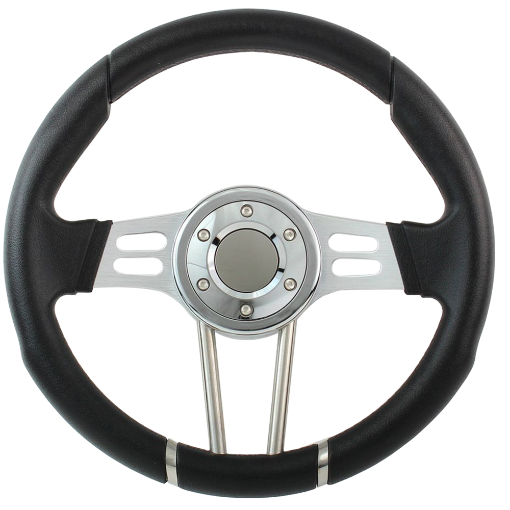"Picture of Steering Wheels - 14"" Black/Chrome Formula Racing Style"
