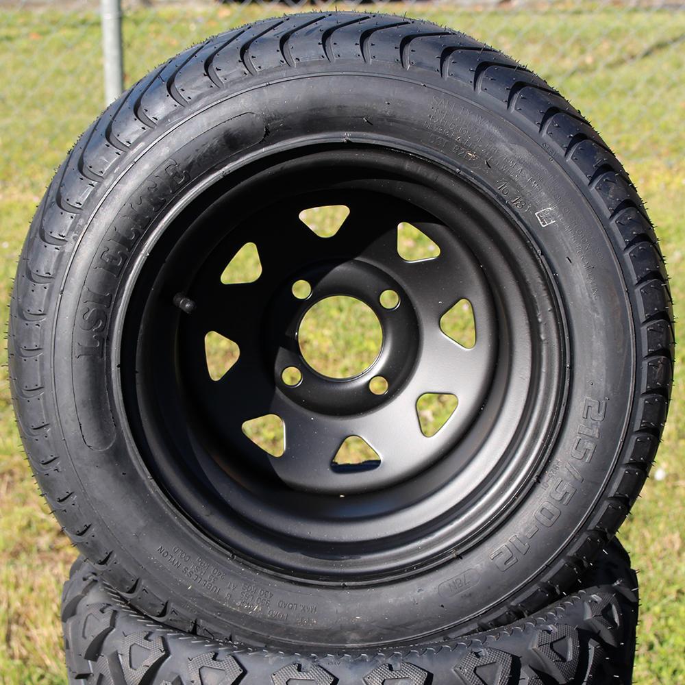 "Picture of Tire/Wheel Combo - 12"" - Matte Black Spoke"